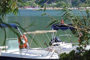 White boat docked