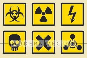 Warning signs, symbols icon set