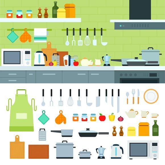 Kitchen interior in Illustrations