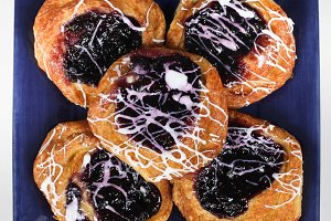 Blueberry sweet danish plate