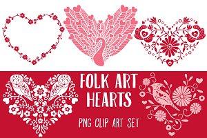 Folk Art Hearts Clip Art PNG