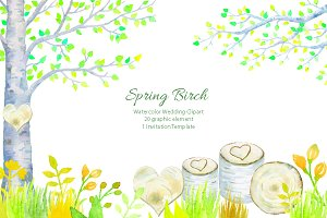 Wedding Clipart - Spring Birch Tree