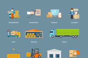 Set of Icons Transport Logistics