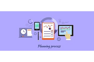 Planning Process Icon Flat Design