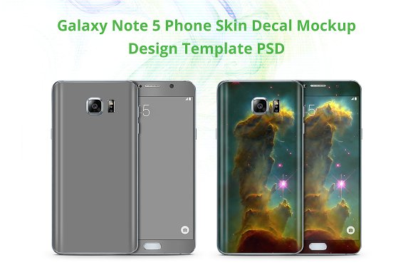 Galaxy Note 5 Phone Skin Mockup in Product Mockups