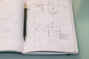 Architect notebook with sketches