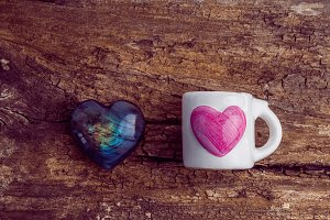 White glass with pink heart
