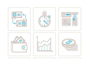 Business & finance lineart icons
