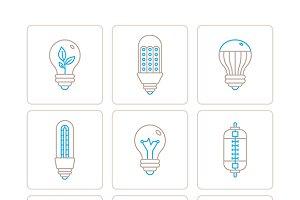 Light bulb icons mono line