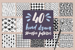40 Hand Drawn Seamless Patterns