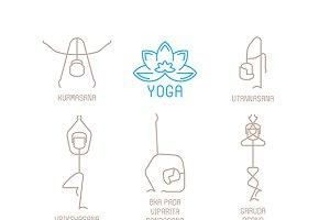 Yoga poses icons mono line style
