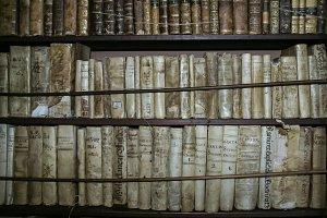 Antique books on wooden shelves