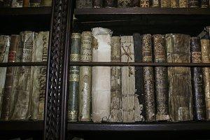 Antique books on wooden shelves 3