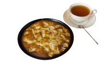Apple pie with a cup of black tea
