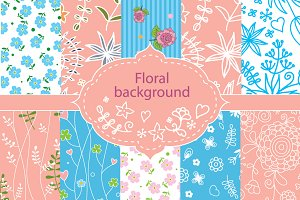 Set of 10 floral seamless patterns