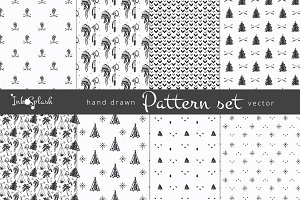 Hand drawn set of seamless patterns