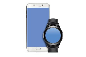 Galaxy S6 edge + Gear s2 Mockup