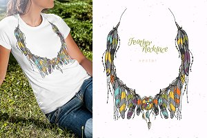 Hand drawn necklace with feathers