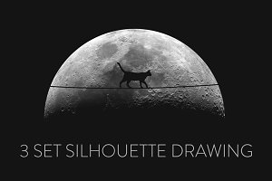 3 silhouette drawings