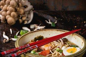 Asian soup ramen with shrimp