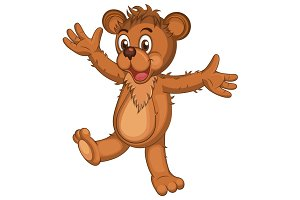 Cute brown cartoon bear.