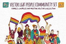 Vector LGBT people community set