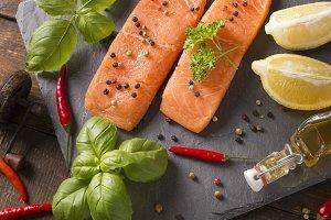 raw salmon filet