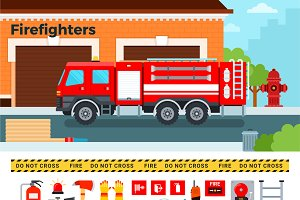 Firefighters truck