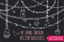 Romantic heart Vector DIY brushes