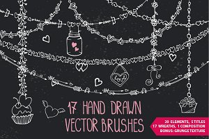 Romantic heart Vector DIY brushes
