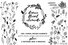 Hand Sketched Floral Elements