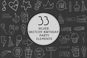 Silver Sketchy Birthday Party Set