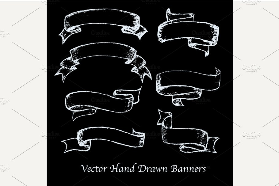 Vector hand drawn banners set.