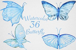 Watercolor Butterfly set #1