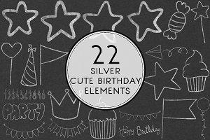 Silver Cute Birthday Elements