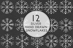 Silver Hand drawn Snowflakes