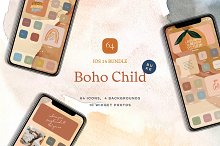 Boho Child – 64 iOS14 icons bundle by  in Graphics