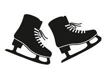 Black and line silhouette skates set