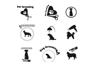 Pet grooming, dog grooming label.