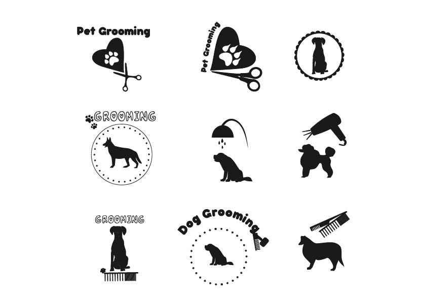 Pet grooming, dog grooming label. ~ Icons ~ Creative Market
