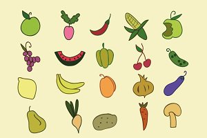 Hand draw  fruit, vegetables icons