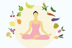 Woman in a yoga pose. Diet
