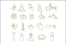 Outline spa and massage icons set.