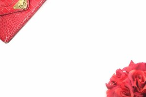 Simply Red: Purse & Rose Stock Image