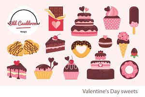 Valentine's cakes clipart CL019