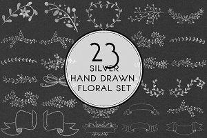 Silver Hand Drawn Floral Set
