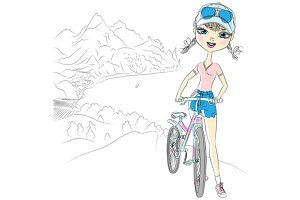 Girl tourist with bicycle