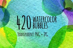 420 hand drawn watercolor spots
