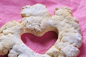 Baked heart on pink baking paper