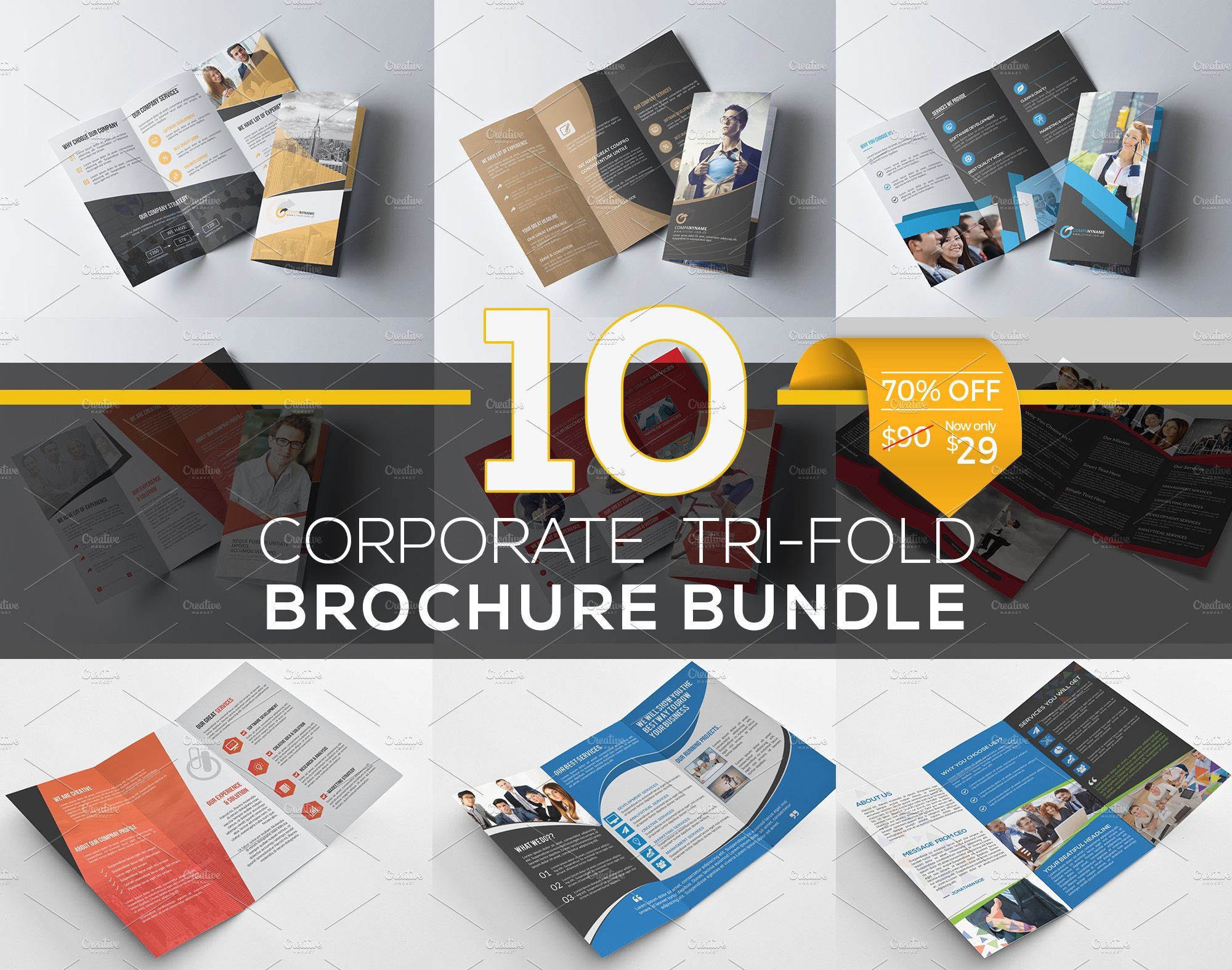 10 Tri Fold Brochure Bundle Brochure Templates Creative Market
